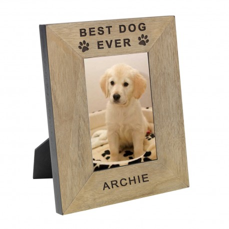 Personalised Best Dog Ever Wood Frame