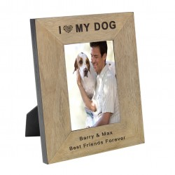 Personalised I (Heart) My Dog Wood Frame