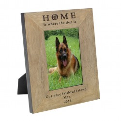 Personalised HOME is where the dog is Wood Frame