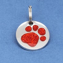 Red Glitter Paw Print Dog ID Tag