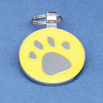 Glow In The Dark Paw Print Dog ID Tag