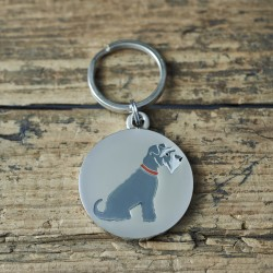 Grey Schnauzer Dog ID Tag