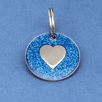 Blue Glitter Heart Dog Id Tag