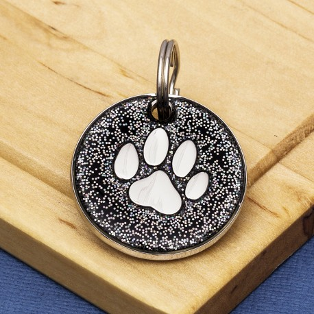 Black Glitter Paw Dog Id Tag