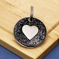 Black Glitter Heart Dog Id Tag