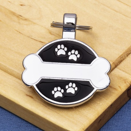 White Bone Paw Print Dog ID Tag
