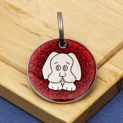 Red Glitter Dog Id Tag