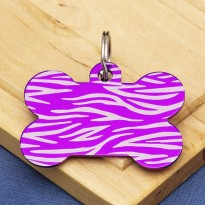 Purple Bone Dog ID Tag Tiger Stripe