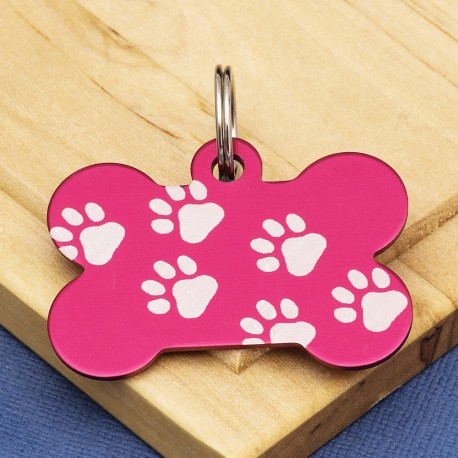 Red Paw Bone Dog ID Tag