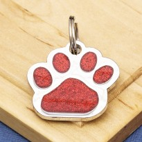 Glitter Paw Dog ID Tag Red