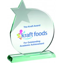 Jade Glass Circle Plaque Award With Frosted Star 17cm