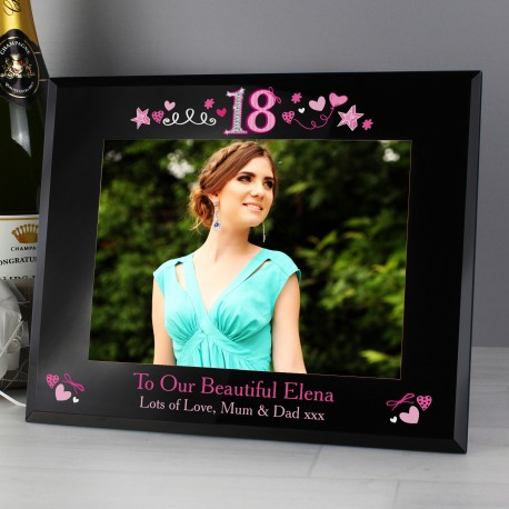 Personalised 18th Birthday Black Glass Frame