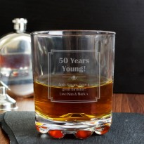 Personalised Whisky Tumbler Glass - Art Deco Design