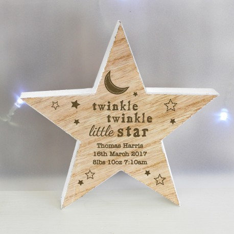 Personalised Baby Wooden Star Decoration