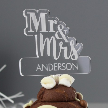 Personalised Mr & Mrs Wedding Cake Topper