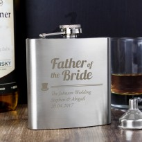 Personalised Father of the Bride Wedding Hip Flask