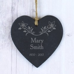 Personalised  Floral Memorial Slate Heart