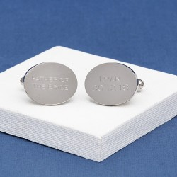 Engraved Any Message Oval Cufflinks