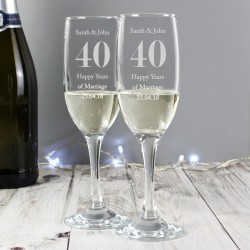 Personalised Anniversary Flute Glasses