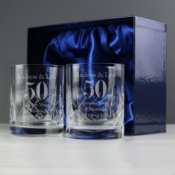 Personalised Anniversary Whisky Tumbler Glasses