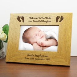 Personalised Baby Footprints Oak Photo Frame