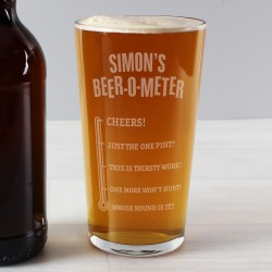 Personalised Beer O Meter Pint Glass