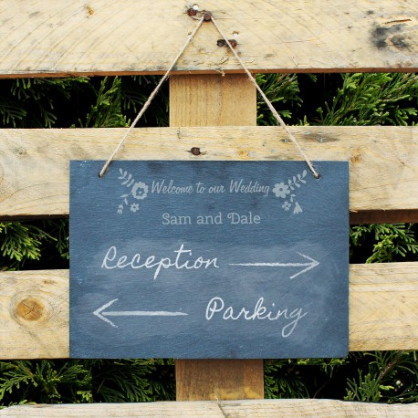 Personalised Wedding Flowers Hanging Slate Sign