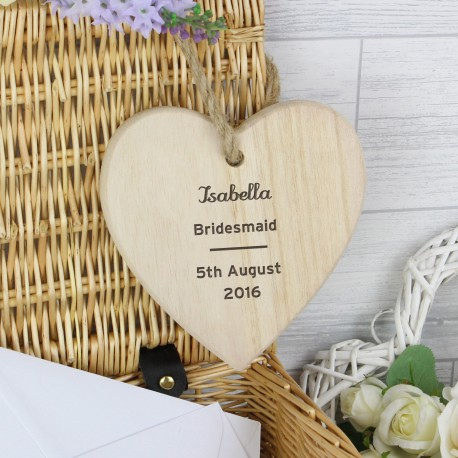 Personalised Any Message Wooden Heart Decoration