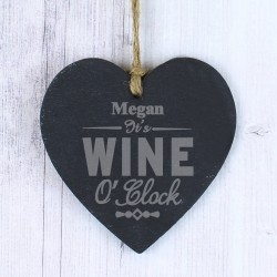 Personalised Wine O'Clock Slate Heart