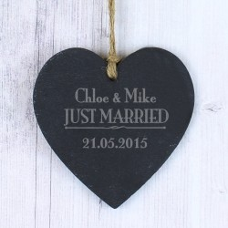 Personalised Just Married... Small Slate Heart Decoration