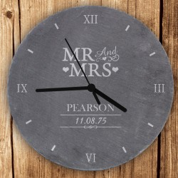 Personalised Mr & Mrs Slate Clock