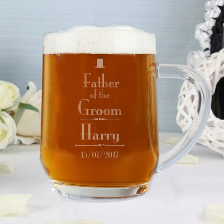 Personalised Father of the Groom Wedding Glass