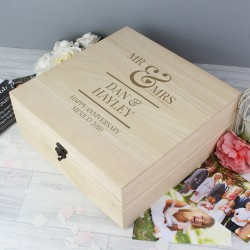 Personalised Mr & Mrs Wooden Wedding Keepsake Box