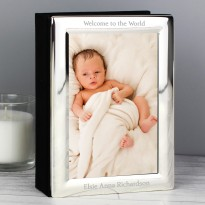 Personalised Any Message Silver Photo Frame Album