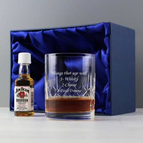Personalised Cut Crystal & Bourbon Whiskey Miniature Set
