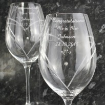 Personalised Hand Cut Diamante Wine Glasses - set of 2
