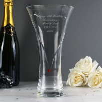 Personalised Large Hand Cut Ruby Diamante Heart Vase