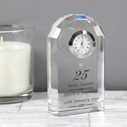 Personalised Silver Anniversary Crystal Clock