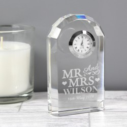 Personalised Mr and Mrs Crystal Clock