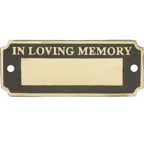 In Loving Memory Bench Plaque