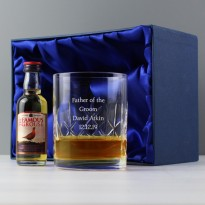 Personalised Cut Crystal and Whisky Gift Set