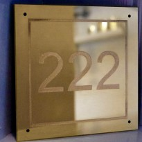 Square Brass House Number