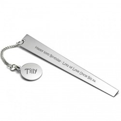 Engraved Book Mark Silver Plated