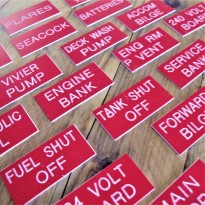 40 Engraved Labels Red 3 x 1.5