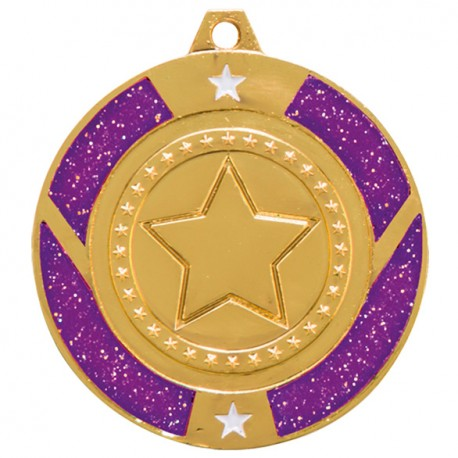 Purple Glitter Star Medal