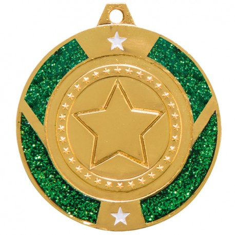 Green Glitter Star Medal