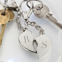 His and Hers Hearts Key Rings