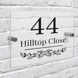 Personalised Botanical Acrylic house Number Sign