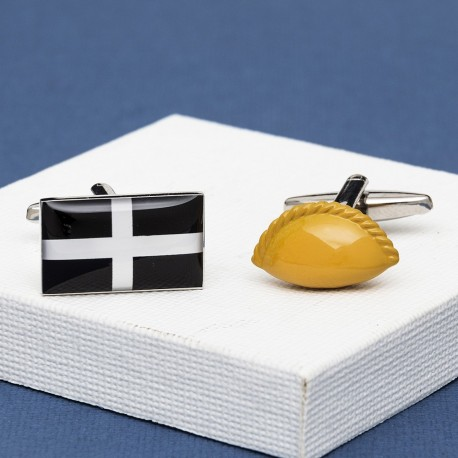 Cornish Pasty and St Piran Flag Cufflinks