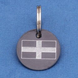 Cornish St Pirans Flag Round Pet Id Tag